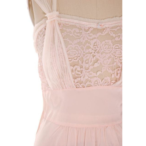 "Vintage  Nightgown Acetate Rayon Pale Pink W/ Lace 40"" Bust Lady Edso - The Best Vintage Clothing  - 4"