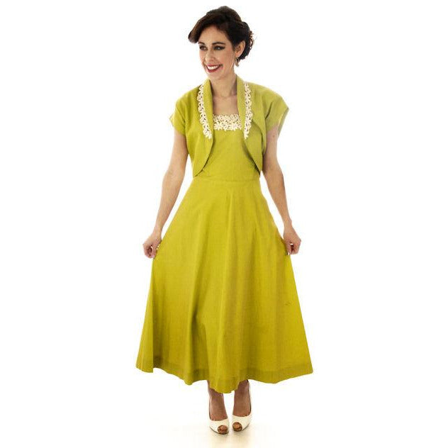 Vintage Sun Dress Chartreuse Green Cotton Full Skirt/Bolero Jacket 1940s 34-28-Free