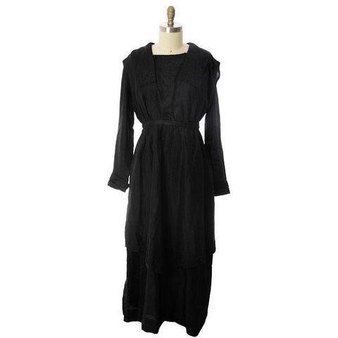 Womens Early 1920s Antique Dress Black Silk Faille Edwardian Large 48 Bust