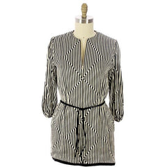 Vintage Pauline Trigere Silk Tunic Black & White Stripes/OpArt 1970s 40-33-43 - The Best Vintage Clothing  - 3