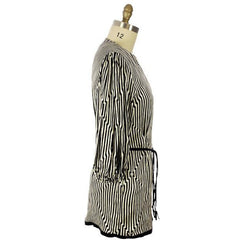 Vintage Pauline Trigere Silk Tunic Black & White Stripes/OpArt 1970s 40-33-43 - The Best Vintage Clothing  - 2