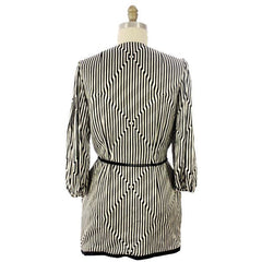 Vintage Pauline Trigere Silk Tunic Black & White Stripes/OpArt 1970s 40-33-43 - The Best Vintage Clothing  - 4