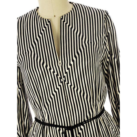 Vintage Pauline Trigere Silk Tunic Black & White Stripes/OpArt 1970s 40-33-43