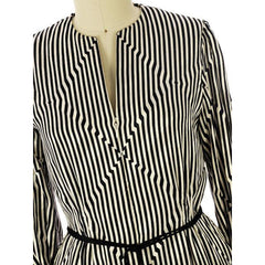 Vintage Pauline Trigere Silk Tunic Black & White Stripes/OpArt 1970s 40-33-43 - The Best Vintage Clothing  - 1