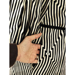 Vintage Pauline Trigere Silk Tunic Black & White Stripes/OpArt 1970s 40-33-43 - The Best Vintage Clothing  - 7
