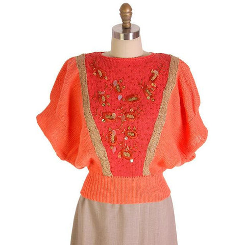 Vintage Womens Cotton Sweater Orange Beaded 1980s Goldbergs La Nuit M