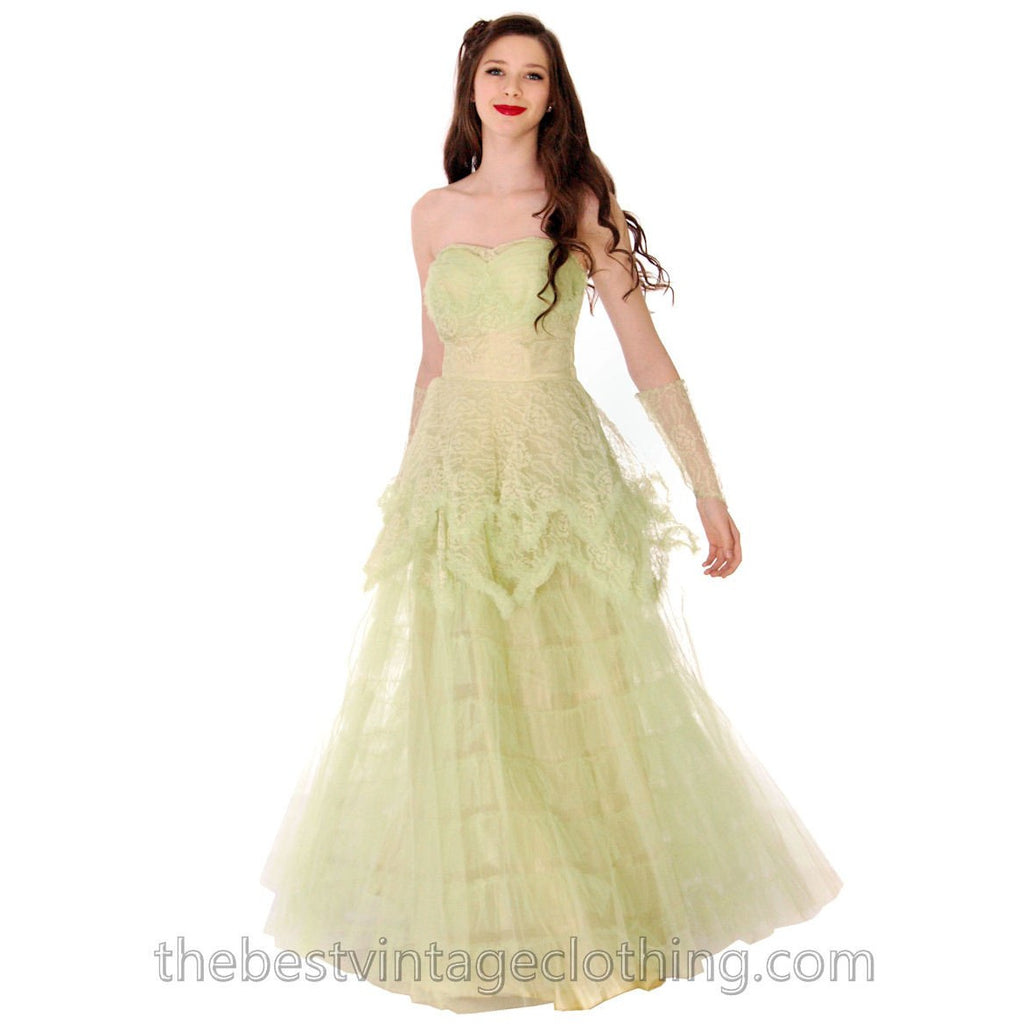 Vtg 1950s  Strapless Pale Green Tulle w Wristlets Prom Party Evening Gown Dress S 32-25-Free - The Best Vintage Clothing  - 1