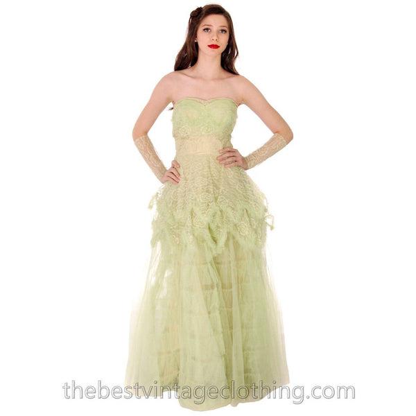 Vtg 1950s  Strapless Pale Green Tulle w Wristlets Prom Party Evening Gown Dress S 32-25-Free - The Best Vintage Clothing  - 2