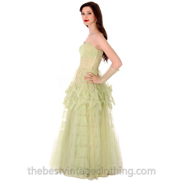 Vtg 1950s  Strapless Pale Green Tulle w Wristlets Prom Party Evening Gown Dress S 32-25-Free - The Best Vintage Clothing  - 3