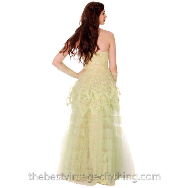 Vtg 1950s  Strapless Pale Green Tulle w Wristlets Prom Party Evening Gown Dress S 32-25-Free - The Best Vintage Clothing  - 4