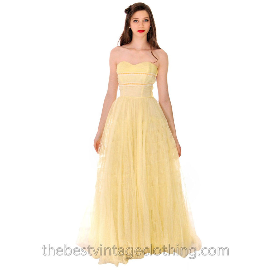Vtg 1950s Strapless Yellow Tulle Prom Party Evening Gown Dress SIZE ...