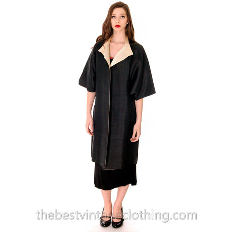 Stunning VTG 1950s Silk Shantung Cocoon Coat Reversible Black / Cream One Size up to S to L