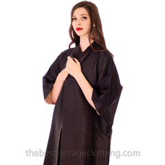 Stunning VTG 1950s Silk Shantung Cocoon Coat Reversible Black / Cream One Size up to S to L - The Best Vintage Clothing  - 5