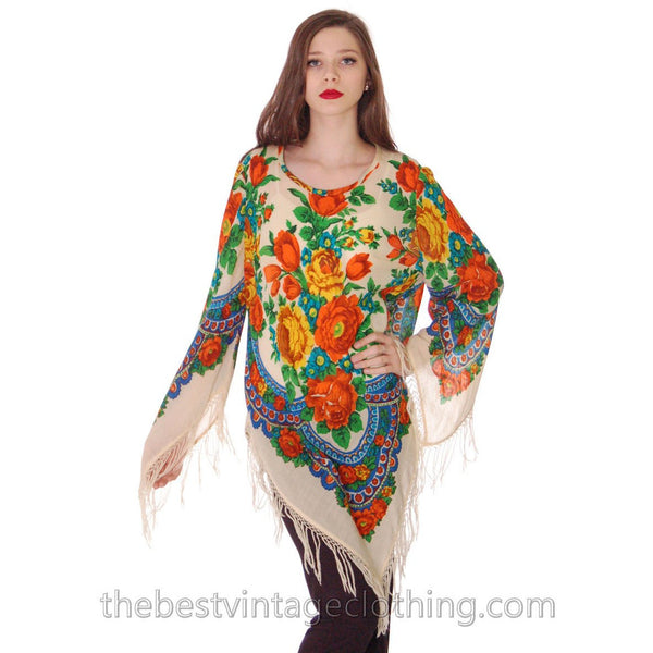 1960s Vintage Ethnic Fine Wool Tunic Blouse Fringe Floral Size O/S - The Best Vintage Clothing  - 1