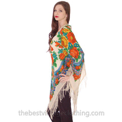 1960s Vintage Ethnic Fine Wool Tunic Blouse Fringe Floral Size O/S - The Best Vintage Clothing  - 2
