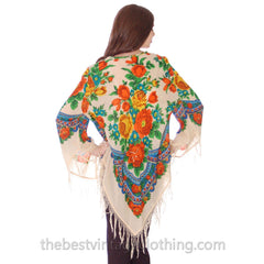 1960s Vintage Ethnic Fine Wool Tunic Blouse Fringe Floral Size O/S - The Best Vintage Clothing  - 3