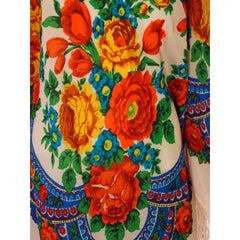 1960s Vintage Ethnic Fine Wool Tunic Blouse Fringe Floral Size O/S - The Best Vintage Clothing  - 4
