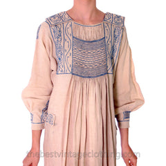 Vintage French Hand Embroidered Smocked Linen Dress Paris 1920s Blue / White - The Best Vintage Clothing  - 7