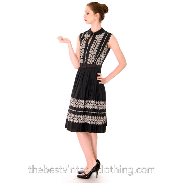 Vintage 1950s Day Dress Black Polished Cotton Border White Embroidery Size S-M 38-26-Free - The Best Vintage Clothing  - 1
