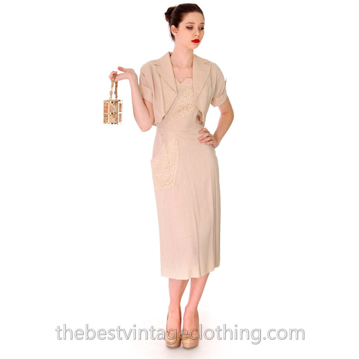 1950s Beige Rayon Day Dress & Jacket Vintage Lace Applique Never Worn  Size M 36-26-38 - The Best Vintage Clothing  - 1