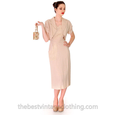 1950s Beige Rayon Day Dress & Jacket Vintage Lace Applique Never Worn  Size M 36-26-38