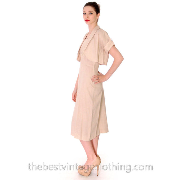 1950s Beige Rayon Day Dress & Jacket Vintage Lace Applique Never Worn  Size M 36-26-38 - The Best Vintage Clothing  - 3