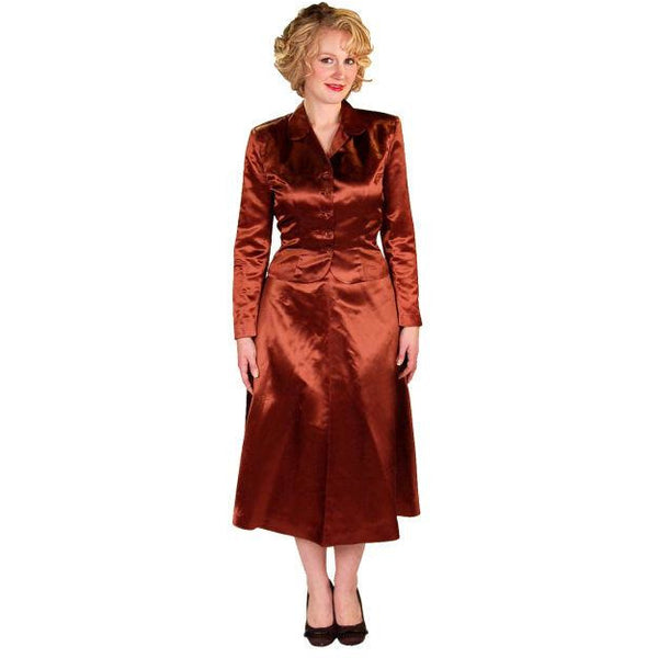 Vintage 1940s Suit Copper Satin A Line Skirt Womens  S  36-24-44 - The Best Vintage Clothing  - 2