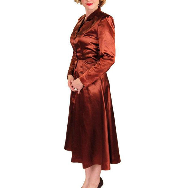 Vintage 1940s Suit Copper Satin A Line Skirt Womens  S  36-24-44 - The Best Vintage Clothing  - 4