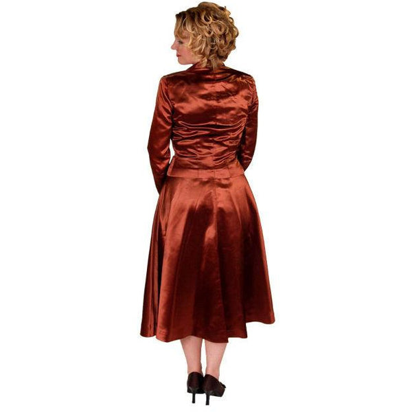 Vintage 1940s Suit Copper Satin A Line Skirt Womens  S  36-24-44 - The Best Vintage Clothing  - 3