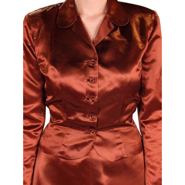 Vintage 1940s Suit Copper Satin A Line Skirt Womens  S  36-24-44 - The Best Vintage Clothing  - 5