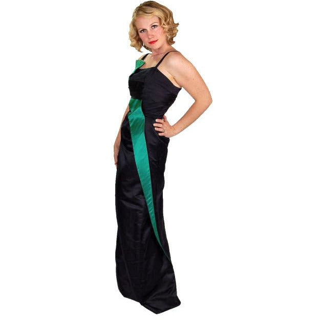 Stunning Vintage Wiggle Cocktail Formal  Gown  Blue/Green Silk 1950S 34-26-38 Provenance - The Best Vintage Clothing  - 1