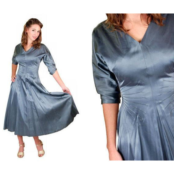 Vintage Steel Blue Satin Cocktail Gown 1940'S 34-24-Free Unique Waistline - The Best Vintage Clothing  - 3