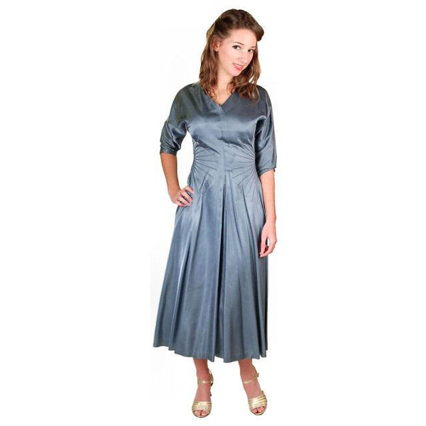 Vintage Steel Blue Satin Cocktail Gown 1940'S 34-24-Free Unique Waistline - The Best Vintage Clothing  - 1