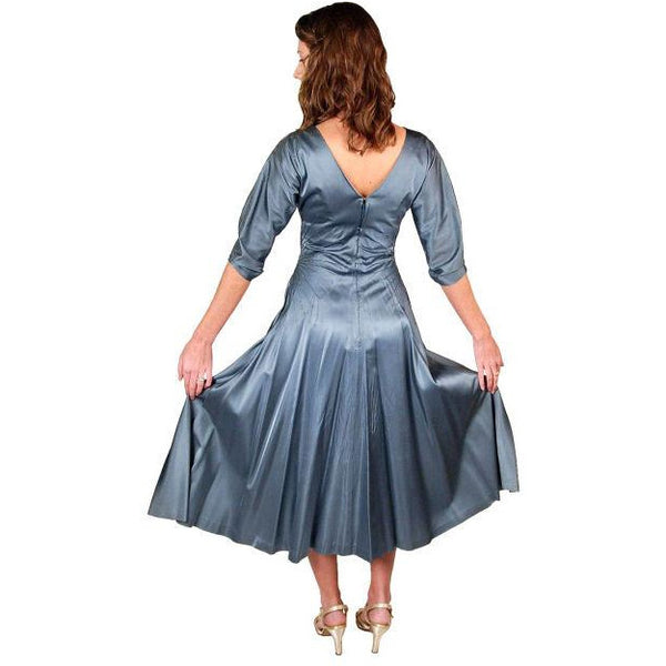 Vintage Steel Blue Satin Cocktail Gown 1940'S 34-24-Free Unique Waistline - The Best Vintage Clothing  - 2