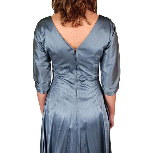 Vintage Steel Blue Satin Cocktail Gown 1940'S 34-24-Free Unique Waistline - The Best Vintage Clothing  - 6