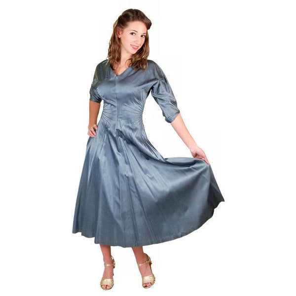 Vintage Steel Blue Satin Cocktail Gown 1940'S 34-24-Free Unique Waistline - The Best Vintage Clothing  - 7