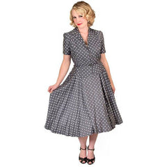 Vintage Gray Cotton Polka Dot Suit w/  Full Skirt 1950'S 38-24-Free - The Best Vintage Clothing  - 1