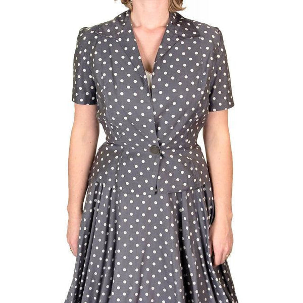 Vintage Gray Cotton Polka Dot Suit w/  Full Skirt 1950'S 38-24-Free - The Best Vintage Clothing  - 2