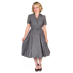 Vintage Gray Cotton Polka Dot Suit w/  Full Skirt 1950'S 38-24-Free - The Best Vintage Clothing  - 4