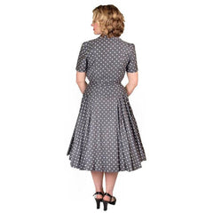 Vintage Gray Cotton Polka Dot Suit w/  Full Skirt 1950'S 38-24-Free - The Best Vintage Clothing  - 3