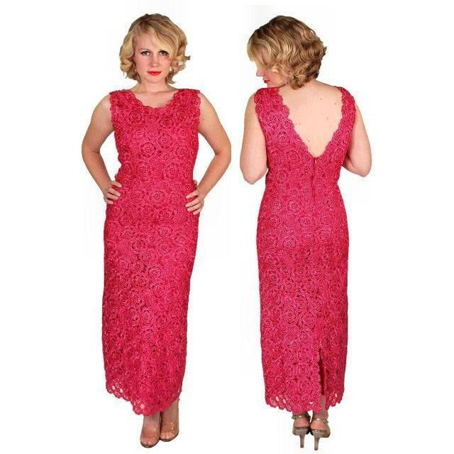 Vintage Dress Hot Pink Pantova Crocheted Rayon Straw Evening Gown 1960S 38-28-38 - The Best Vintage Clothing  - 1