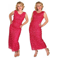 Vintage Dress Hot Pink Pantova Crocheted Rayon Straw Evening Gown 1960S 38-28-38 - The Best Vintage Clothing  - 4