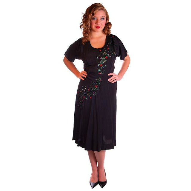 Vintage Black Cocktail Dress W/Colored Sequin Floral Soutache 1940S 40-30-42 - The Best Vintage Clothing  - 1