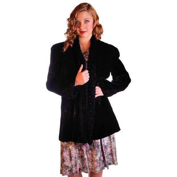 "Vintage Black Silk Velvet Evening Coat Trapunto Designs 1940S 42"" Bust - The Best Vintage Clothing  - 1"