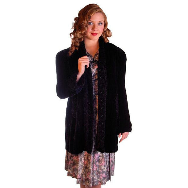 "Vintage Black Silk Velvet Evening Coat Trapunto Designs 1940S 42"" Bust - The Best Vintage Clothing  - 2"