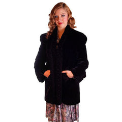 "Vintage Black Silk Velvet Evening Coat Trapunto Designs 1940S 42"" Bust - The Best Vintage Clothing  - 3"