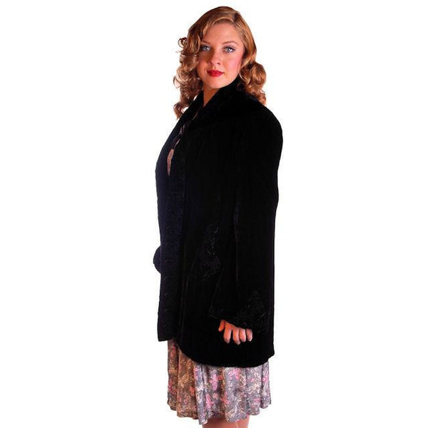 "Vintage Black Silk Velvet Evening Coat Trapunto Designs 1940S 42"" Bust - The Best Vintage Clothing  - 4"