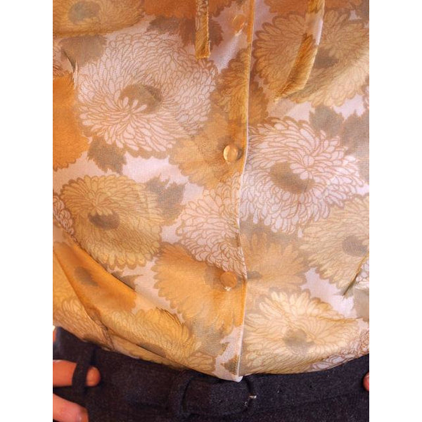 Vintage Sheer Nylon Printed Blouse Gold Floral 1950S 36 - The Best Vintage Clothing  - 7