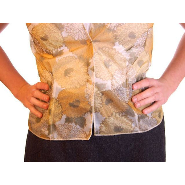 Vintage Sheer Nylon Printed Blouse Gold Floral 1950S 36 - The Best Vintage Clothing  - 3