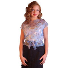 "Vintage Blouse Sheer Blue Nylon  W/ Peplum 1950S 34"" Bust - The Best Vintage Clothing  - 2"